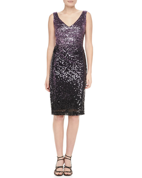 Sequined Sleeveless Sheath Cocktail Dress