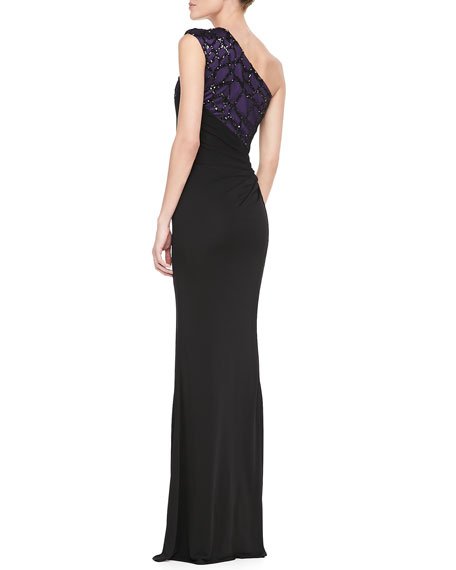 One-Shoulder Beaded-Angle Gown