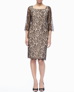 Marina Rinaldi Darsena 3/4-Sleeve Lace Dress, Women's