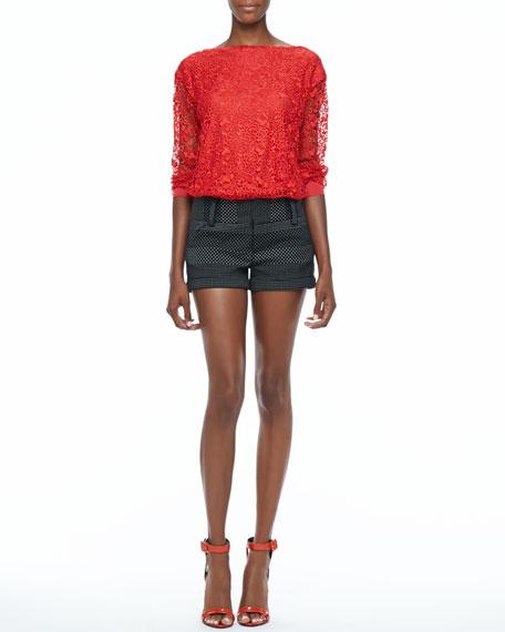 Dot-Print Cuffed Shorts