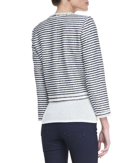 Kidman Cropped Horizontal Striped Jacket