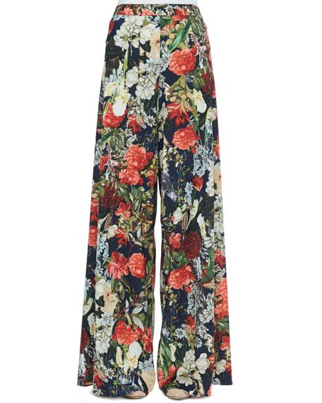 Super-Flare Floral-Print Pants
