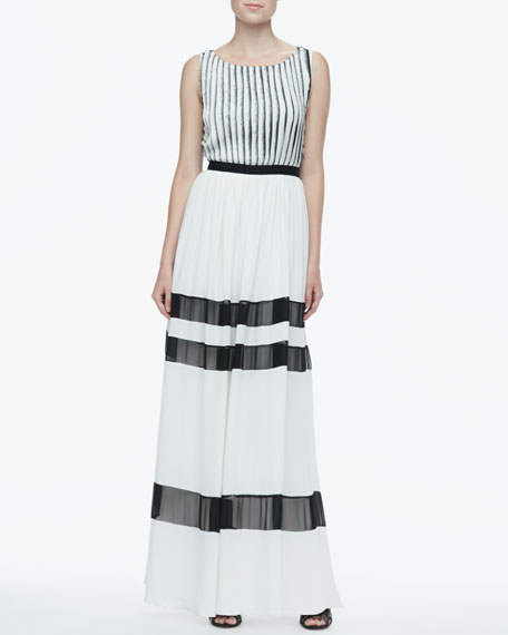 Rai Fringe-Stripe Maxi Dress