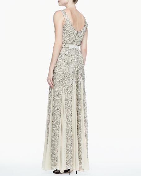 Kravit Fluted Lace Maxi Dress