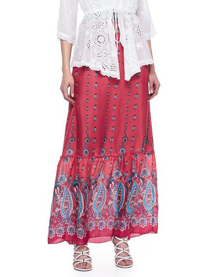 Silk Print Maxi Skirt