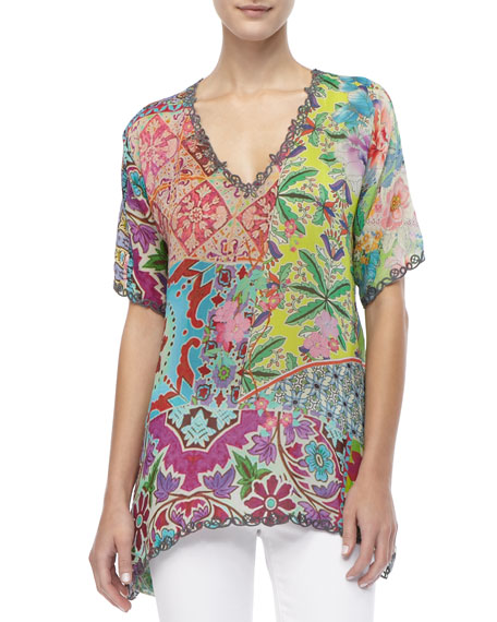 Silk Print Short-Sleeved Tunic, Women's