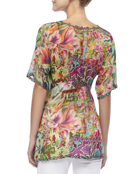 Silk Print Short-Sleeved Tunic