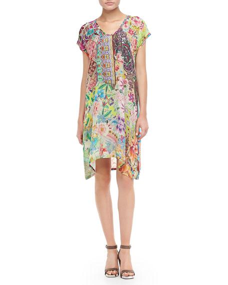 Lilly Print Asymmetric Neck Dress