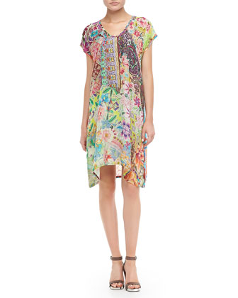 Lilly Print Asymmetric Neck Dress