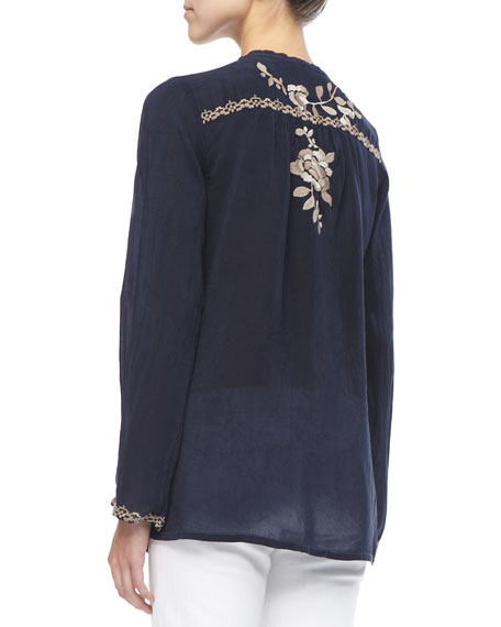 Long Petal-Embroidered Blouse