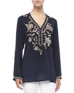 Johnny Was Collection Long Petal-Embroidered Blouse