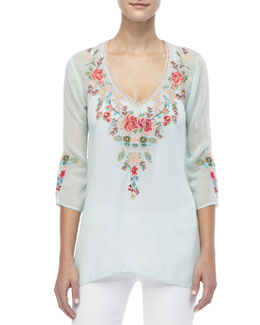 Johnny Was Collection Embroidered V-Neck Julietta Blouse, Women's