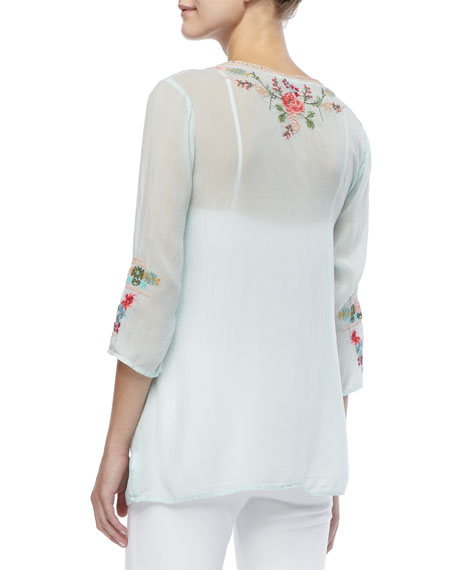 Embroidered V-Neck Julietta Blouse