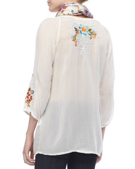 Wonderland Sheer Embroidered Long Blouse, Women's