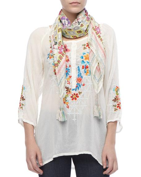 Wonderland Sheer Embroidered Long Blouse, Women's