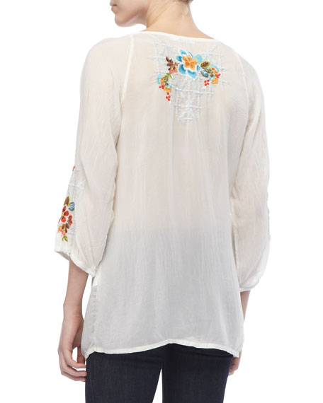 Sheer Embroidered Long Blouse