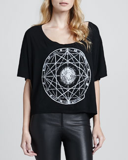 Love, Simdog Oversized Zodiac Crop Tee