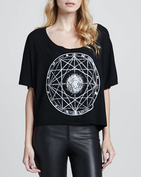 Oversized Zodiac Crop Tee