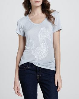 Love, Simdog Seahorse Printed Perfect Tee