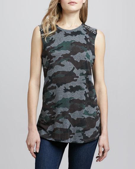 Embellished-Shoulder Camo Tank