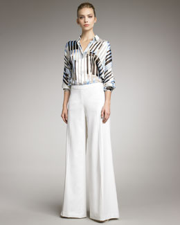 Carolina Herrera Lightweight Wide-Leg Pants