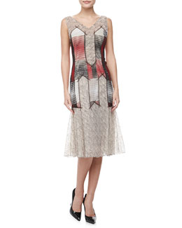 Carolina Herrera Sleeveless Chiffon & Lace Dress