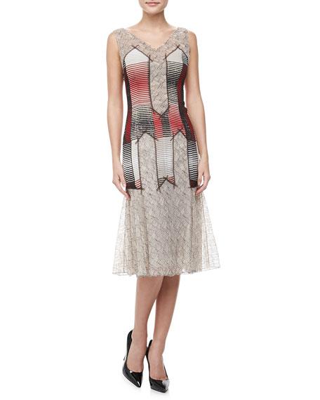 Sleeveless Chiffon & Lace Dress