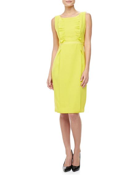 Ruffled Crepe Sheath Dress, Lemon