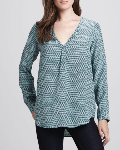 Daryn Geometric-Print Silk Blouse