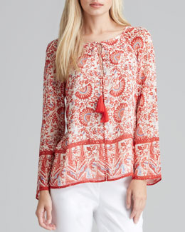 Tory Burch Danica Printed Tie-Neck Tunic
