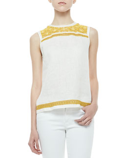 Tory Burch Pearl Embroidered-Trim Shell