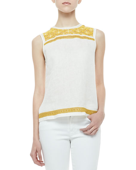 Pearl Embroidered-Trim Shell