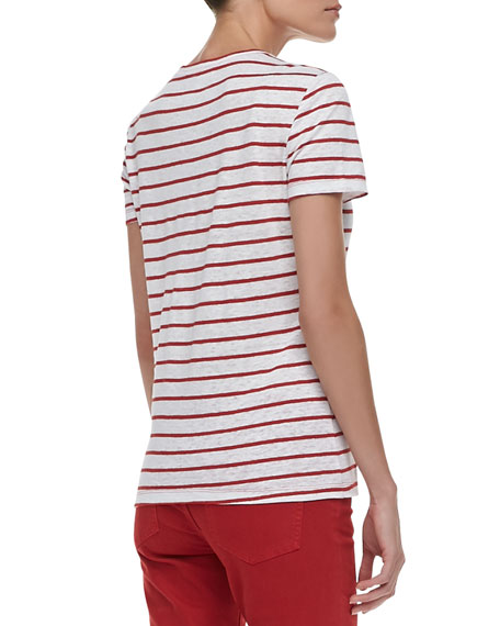Amanda Lace-Bib Striped Tee