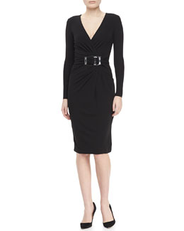 Michael Kors Buckled Wrap Dress, Black
