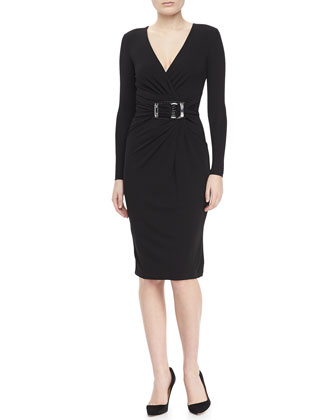 Buckled Wrap Dress, Black