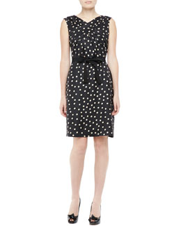 Paule Ka Sleeveless Silk Polka Dot Dress, Black