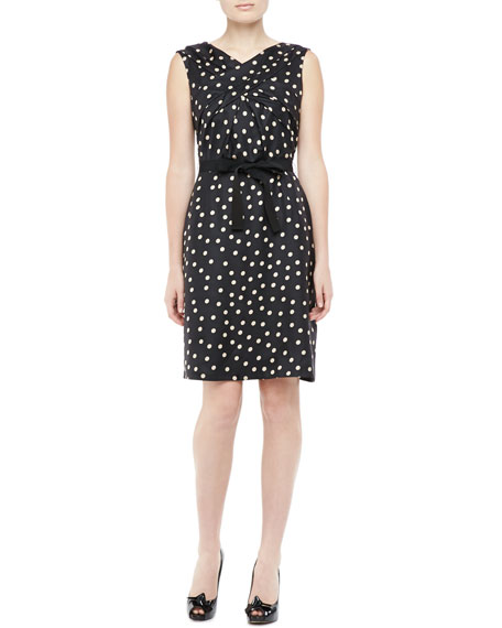 Sleeveless Silk Polka Dot Dress, Black