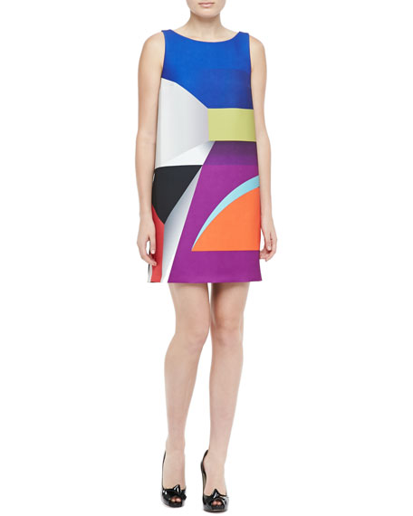 Geometric-Print Dress, Multicolor