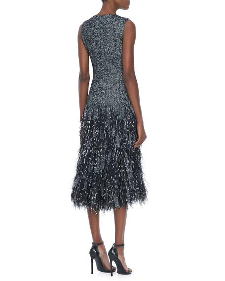 Wool Herringbone Feather Dress
