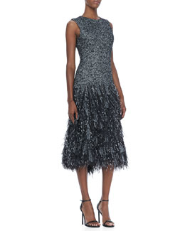 Michael Kors Wool Herringbone Feather Dress
