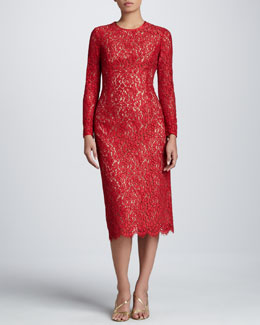 Michael Kors Floral Lace Crew Dress, Crimson