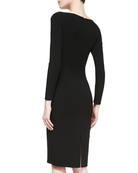 Double-Face Crepe Sheath Dress, Black