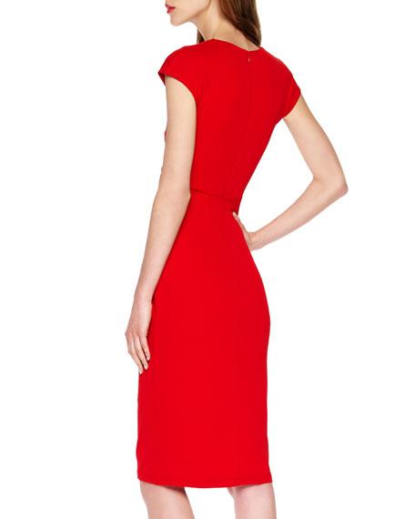 Jersey Faux-Wrap Dress, Crimson