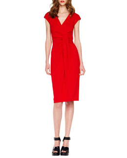 Michael Kors Jersey Faux-Wrap Dress, Crimson