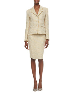 Albert Nipon Shimmery Tweed Skirt Suit