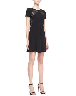 Rebecca Taylor Lace-Panel Crepe Dress