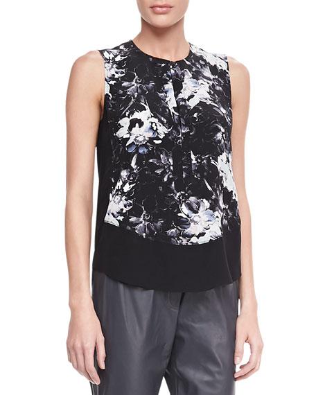 Floral-Print Silk Blouse