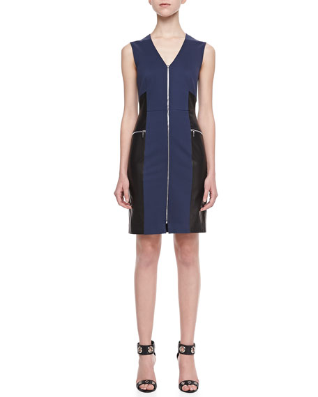 Two-Tone Leather-Panel Dress