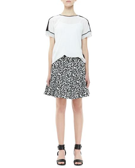 Leopard-Print Flared Skirt