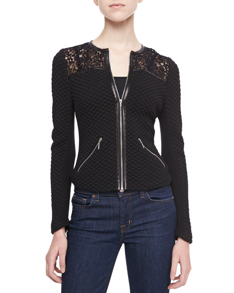 Quilted Lace-Panel Jacket